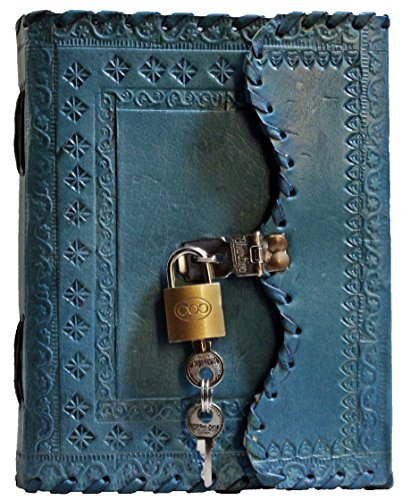 Leather Journal Lock - Prastara Genuine Leather Cover Lock Diary 200 Pages, 5 x 7 Inches (Blue)