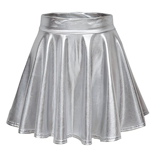 Urban CoCo Women's Shiny Flared Pleated Mini Skater Skirt (XL, Silver) -