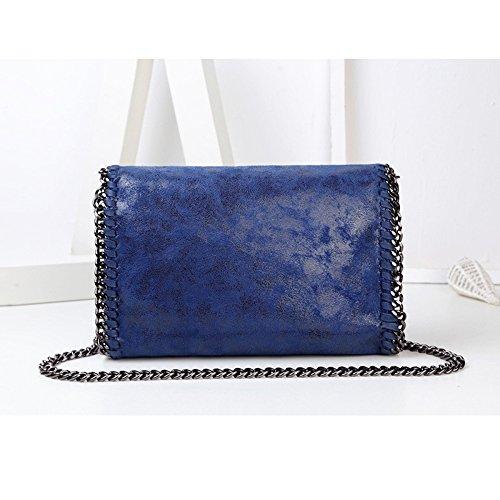 YUHEQI Cuir Body Pour En Soirée Femmes Designer Blue Main Avec Pochette Cross Sacs PU Sac Chaîne Sacs Métallique Les à wraRr