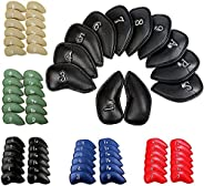 FINGER TEN Golf Iron Head Covers Value 12 Pack Set, Synthetic Leather Deluxe Club Headcover in Color Black Blu