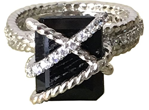 Gempara 14K White Gold Plated Cable Wrap Black Onyx Ring with Simulated Diamonds Ring Size 7 (7)