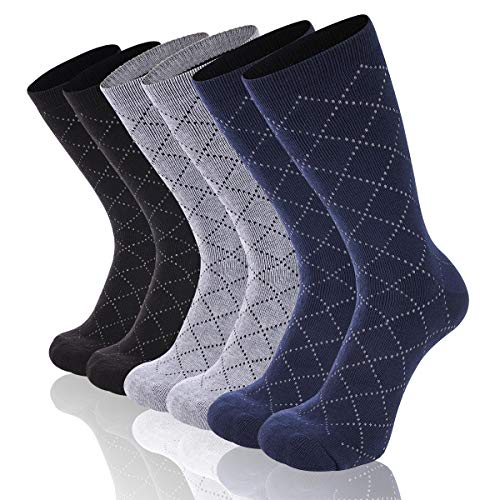 Heatuff Mens Winter Crew Warm Socks Dotted Argyle Pattern Heavy Cushioned Thermal Sock 3 Pack