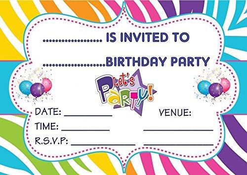 BOYS & GIRLS UNISEX CHILDRENS BIRTHDAY PARTY INVITES INVITATIONS X 20 PACK EBS