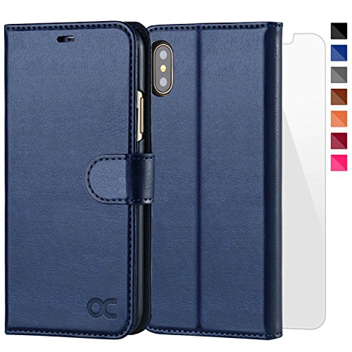OCASE iPhone X wallet Case, iPhone 10 Case [Upgraded Version With Screen Protector] Leather Flip Wallet Phone Cover [Card Slot] for Apple iPhone X/iPhone 10 - Blue by OCASE