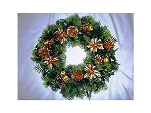 45,72 cm/decoración navideña Poinsettias Xmas ukgd/puerta Holly cono/oro