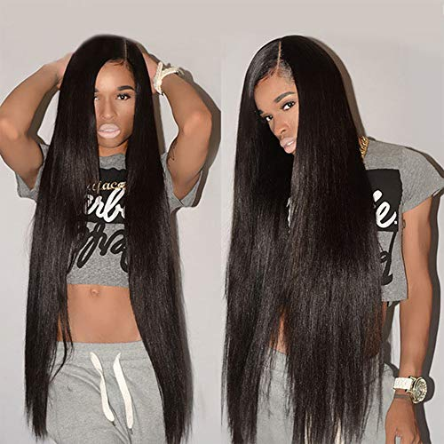 Straight Full Lace Wig Human Hair 16 Inch Brazilian Straight Wig With Baby Hair Pre Plucked 150% Density Human Hair Full Lace Wigs For Black Women Natural Color