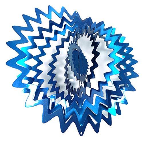 - WorldaWhirl Whirligig 3D Wind Spinner Hand Painted Stainless Steel Twister Star Splash (12 Inch, Blue)