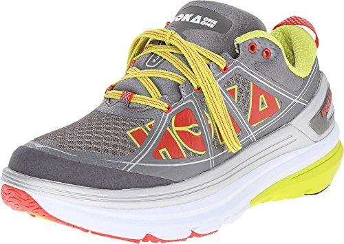 Hoka One One Womens Constant 2 Grey, Acid Road Running Shoes (1009641-Gac) (6, Grey/Acid)