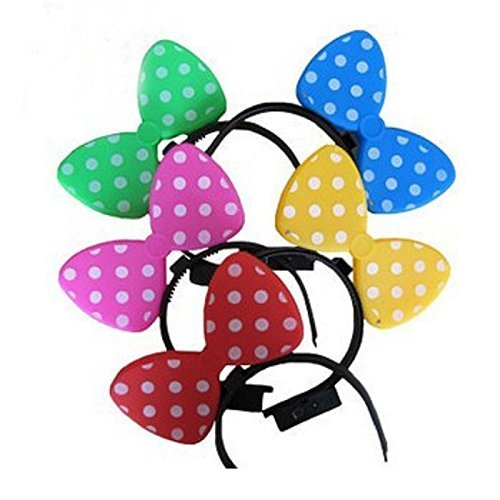 12 PC Light Up LED Flasing Ears and Polka Dot Bows Headbands - Various Styles (Jumbo (Light Up Bow)