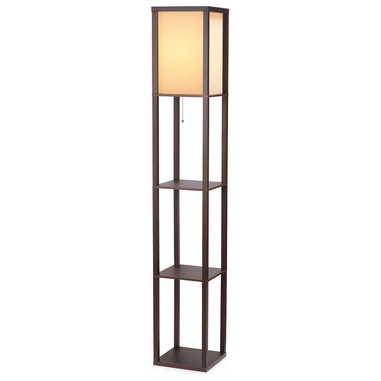 SHINE HAI Shelf Floor Lamp, Shade Diffused Light Source with Open Box Display Shelves, 63inch Modern Mood Lighting for Bedroom and Living Room, Brown by SHINE HAI
