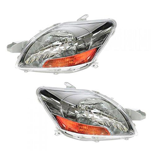 Headlights Headlamps Left & Right Pair Set for 09-11 Toyota Yaris S 4 Door Sedan
