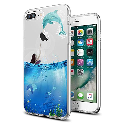Cute Dolphin Clear Banana iPhone case for iPhone 8 Plus Protective for Girls Men Women Cover Shockproof Bumper Anti-Drop TPU Frame for 5.5