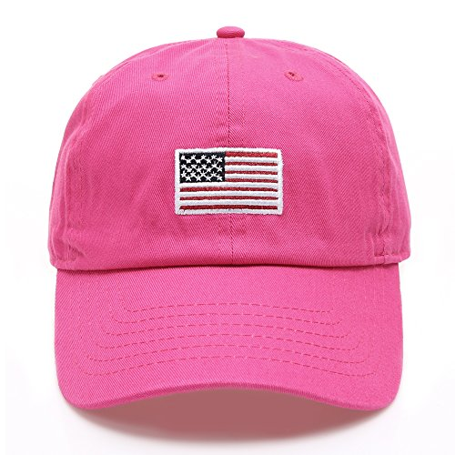 MIRMARU USA American Flag Embroidered 100% Cotton Adjustable Strap Baseball Cap Hat (Flag - Hot Pink) Hot Usa Flag