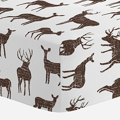 Cotton Organic Mocha (Carousel Designs Mocha Deer Crib Sheet - Organic 100% Cotton Fitted Crib Sheet - Made in The USA)