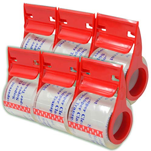 Heavy Duty Shipping Packaging Tape,6 Rolls with Dispenser, 1.88 inches x 800 inches Each Roll, Secure Your Moving Boxes or Ship Packages with Thick and Strong Adhesive Packaging Tape.