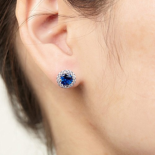 JO WISDOM 925 Sterling Silver Round Gemstone and Blue Created Sapphire Halo Stud Earrings by JO WISDOM (Image #2)