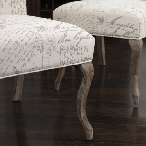 Christopher Knight Home 230274 Crown Back French Script Beige Fabric Dining Chairs (Set of 2), by Christopher Knight Home (Image #4)