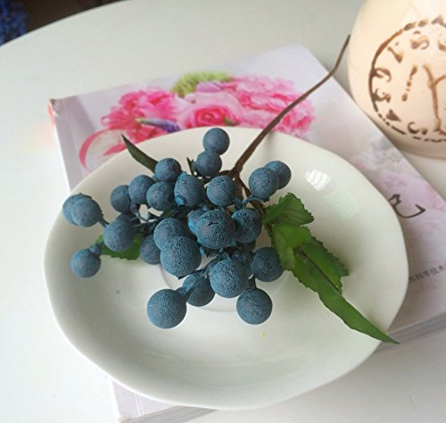 Berries Artificial Flower Bouquet Sweet Home Deco 9.8 in Fake Berry Spray Aritificial Fruits Craft Arrangement Accessories (Blueberry) Rose Manor