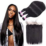Brazilian Straight Hair Bundles with Frontal 13x4 Ear to Ear Lace Frontal with Bundles (26 28 30+20) 10A Grade Brazilian Human Hair 3 Bundles with Lace Frontal Closure Virgin Hair With Frontal
