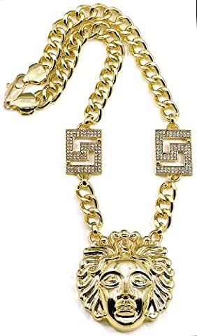 GWOOD Medusa Necklace Pendant With Two Inserts Gold Color With 17 1/2 Inch Cuban Chain (Chief Keef Pendant)