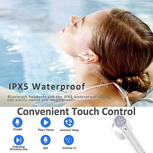 Wireless Earbuds Bluetooth 5.0 Headphones in-Ear Noise Cancelling Headphones HiFi Stereo IPX5 Waterproof Headphones Built-in Microphone with Quick Charge Box for iPhone Android