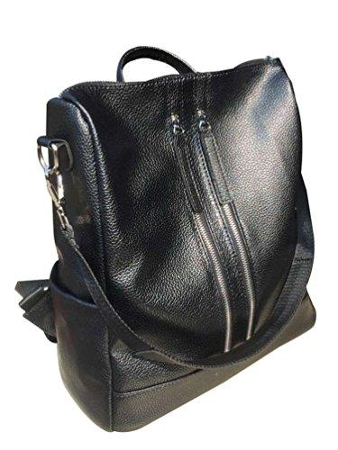 Bag Backpack Black School Cloth Zipper Women 3 Double Yaancun Tote Oxford Fashion qF00gZw