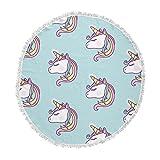 KESS InHouse NL Designs Unicorn Pattern Blue White Animals Fantasy Digital Vector Round Beach Towel Blanket