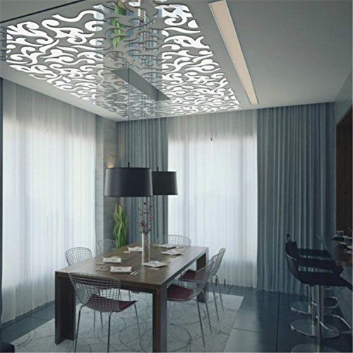 Round Bedroom Ceiling Bedroom Feature Wall Paint Ideas Bedroom Decorating Ideas Teenage Guys Lcd Cabinet Designs Bedroom: Yanqiao 46pcs Removable Round Mirrors Wall Stickers Flower