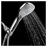 HotelSpa Ultra-Luxury Handheld Shower Head with Hose and Convenient Push-Control Flow Control Button for easy one-handed operation (Oval Square) Hold it and switch flow settings with the same hand