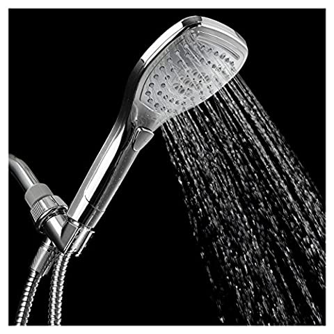HotelSpa Ultra-Luxury Handheld Shower Head with Hose and Convenient Push-Control Flow Control Button for easy one-handed operation (Oval Square) Hold it and switch flow settings with the same hand - Alta Pressione Kit Mist