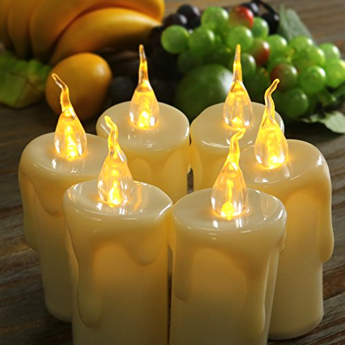 6pcs Warm White Flameless Taper Candles Flickering Votive LED Battery Operated for Halloween, Thanksgiving, Wedding, Birthday, Home Party Decorations(2.4 x 5.3-Inch) - Batteries Not (Beach Taper Candles)