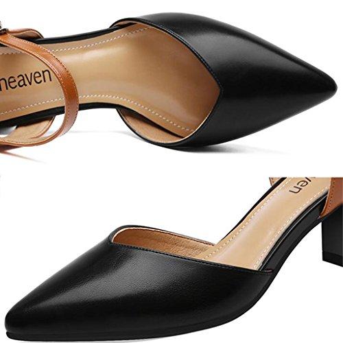 Bouche Épais Sandales Été Chaussures L'orteil Noir PU TPU À Hauts Profonde Tête Talons Peu Envelopper Pointue Talons 4Bx0Rg