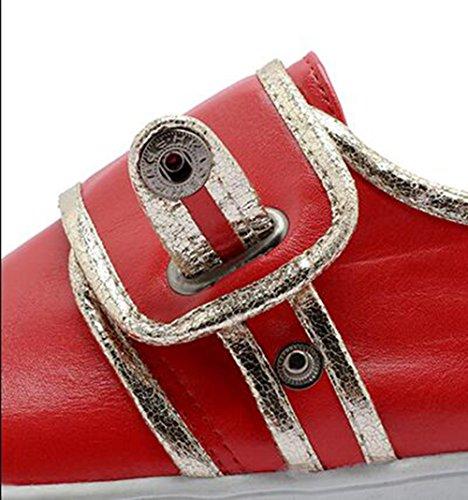 Easemax Kvinna Trendiga Sömmar Rund Tå Låga Topp Plattform Spänne Sneakers Rött
