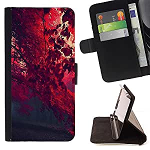 Momo Phone Case / Flip Funda de Cuero Case Cover - Red otoño;;;;;;;; - Huawei Ascend P8 Lite (Not for Normal P8)