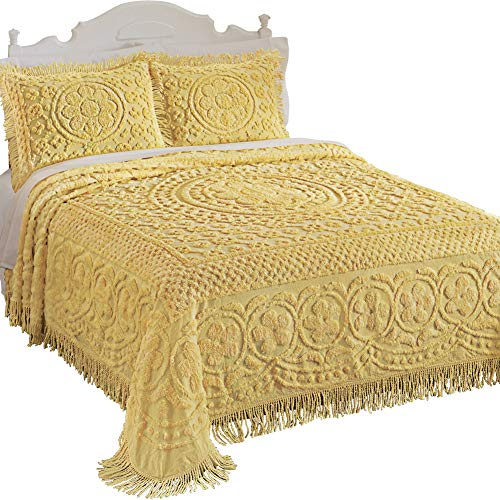 Calista Chenille Lightweight Bedspread with Fringe Border, Yellow, Twin