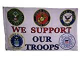 3×5 We Support Our Troops 5 Branch U.S. Military 150D Polyester Flag 3'x5′ House Banner Double Stitched Fade Resistant Premium Quality For Sale