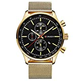 CURREN Watches Mens Brand Luxury Stainless Steel Quartz Watch Men Casual Waterproof Clock Men Sport Wristwatch (gold black)