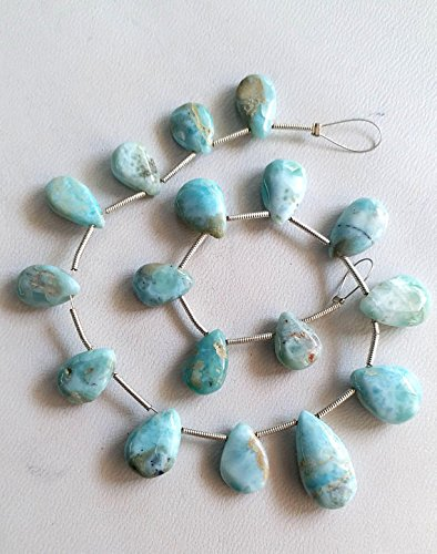 LARIMAR smooth pear shaped briolettes,New superb quality, size - 8x11 mm to 9x18 mm 8 inch strand