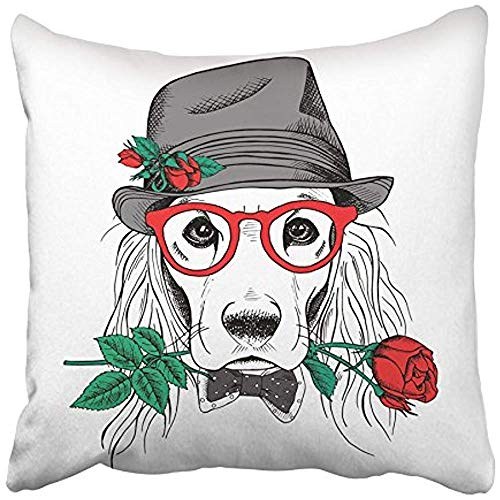 Throw Pillow Covers Cases Decorative 20x20 Inch Black Dog Cocker Spaniel in Elegant Gray Hat and Glasses with Red Rose White Two Sides Print Pillowcase Case Cushion Cover
