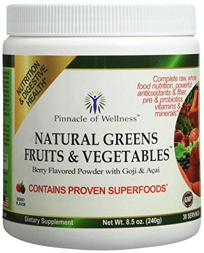 Pinnacle of Wellness Natural Greens Fruits & Vegetables Superfood Powder – Berry Flavor - 30 Servings 8.5oz - Fruit Green Powder