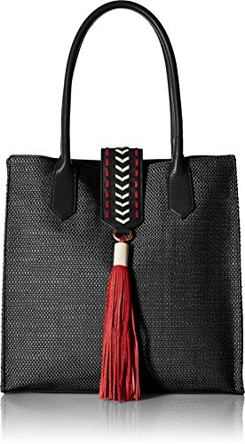 Badgley Mischka Bailey Straw Tote, Black by Badgley Mischka