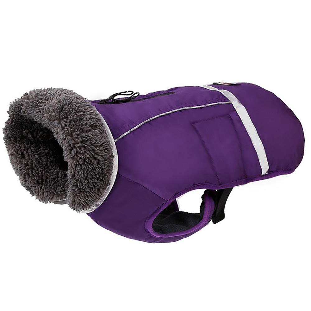 Purple 54106cm Purple 54106cm Dog warm clothing pet jacket waterproof vest cotton coat retro design winter suitable for large and medium dogs