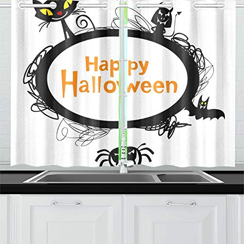 YUMOING Halloween Frame Silhouettes Black Cat Kitchen Curtains Window Curtain Tiers for Café, Bath, Laundry, Living Room Bedroom 26 X 39 Inch 2 Pieces]()