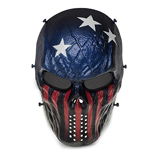 Homeditor Halloween Skull Mask Tactical Airsoft Mask with Metal Mesh Eye Protection for Halloween,Costume Party,Paintball,Outdoor Hunting and CS War Game(Captain America) (Most Tasteless Halloween Costumes)