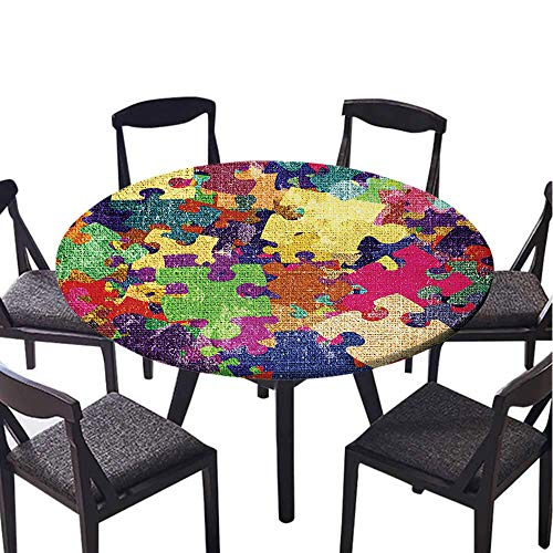 SATVSHOP Round Tablecloth-30 Round-Stain Resistant, Washable, Liquid Spills Bead up,Grunge Home Grunge Illustration with Colorful Jigsaw Puzzl Stationery Artistic Dign Fuchsia Green.(Elastic Edge)