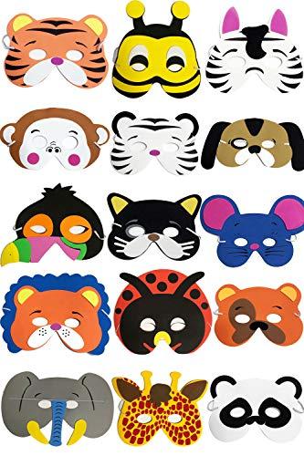 YUKNOW 15Pcs Felt Animal Masks, Cosplay Eye Masks Birthday Party Favors for Kids Boys Girls (Style -