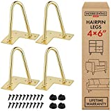 6 Inch Gold Hairpin Legs -4 Easy to Install Metal Legs for Furniture - Mid-Century Modern Legs for Coffee and End Tables, Chairs, Home DIY Projects + Bonus Rubber Floor Protectors by INTERESTHING Home