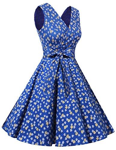 Dresstells®Vestido De Estilo 1950 Corto Mujer Vintage Retro Escote En Pico Con Cinturón Royal Blue Flower