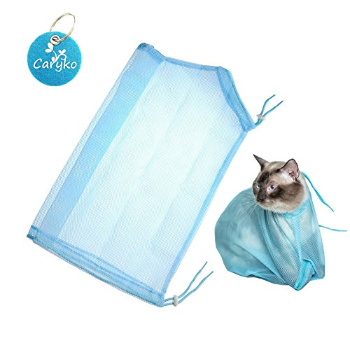 Caryko Adjustable Multifunctional Polyester Cat Washing Shower Mesh Bags Pet Nail Trimming Bags (Blue)