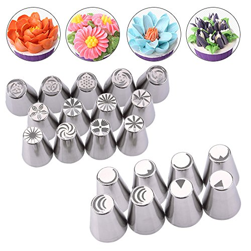 Raza Kitchen Portable 21 Pcs Russian Tulip Nozzle For Cake Cupcake Decorating Icing Piping Nozzles Russian Rose Nozzles Tips by Raza